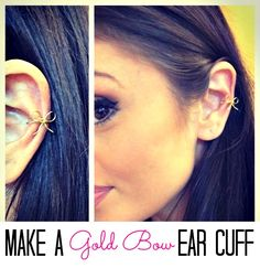 Make a gold bow ear cuff! This is adorable! Diy Jewelry Rings, Wire Jewelry, Jewelery, Handmade Jewelry, Jewelry Making, Jewelry Ideas, Diy Fashion, Fashion Jewelry, Dog Treat Jar