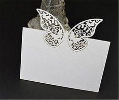 ELENKER 50Pcs Laser Cut Butterfly Vine Wedding Table Number Name Place Card Wedding Party Decoration Favor White *** More info could be found at the image url.Note:It is affiliate link to Amazon.