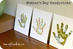 Mother's Day handprint canvases.