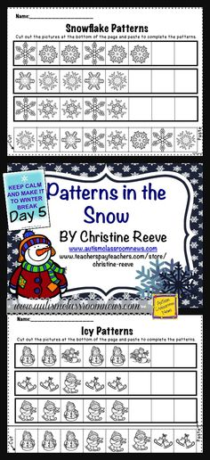 Day 5 of the 8 Day Countdown to Winter Break--Winter Patterning Freebie by Autism Classroom News at http://www.autismclassroomnews.com