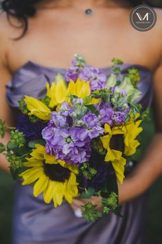Purple and Yellow Bridesmaid bouquet