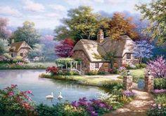 Swan Cottage 1500 Piece Jigsaw Puzzle