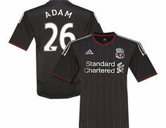 Liverpool Away Shirt Adidas 2011-12 Liverpool Away Football Shirt (Adam 26) Buy the brand new Liverpool awayshirt for the 2011/12 Premiership season complete with Charlie Adam shirt printing.The newLiverpool football shirt is manufactured by Adidas and is available in kids  http://www.comparestoreprices.co.uk/football-shirts/liverpool-away-shirt-adidas-2011-12-liverpool-away-football-shirt-adam-26-.asp