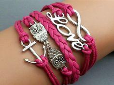 Infinity Bracelet Love Bracelet Owls Bracelet Anchor Bracelet Antique sliver Rose Star Bracelet Cute Personalized Bacelet on Etsy, $8.03 CAD