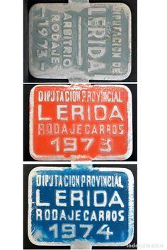 LOTE 3 MATRICULAS CHAPA Y ESMALTES MATRICULA RODAJE CARROS LERIDA 1973 1974 LLEIDA