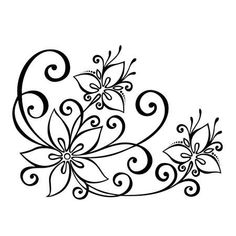 Illustration of Beautiful Decorative Flower with Leaves Vector , Patterned design vector art, clipart and stock vectors. Image Vector - Beautiful Decorative Flower with Leaves Vector , Patterned design Flower Pattern Design, Surface Pattern Design, Flower Patterns, Flower Design Drawing, Leaves Vector, Stencil Patterns, Abstract Flowers, Pattern Drawing, Designs To Draw