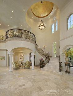 Elegant Mediterranean Staircase - Houston, Anything But Plain, Inc.