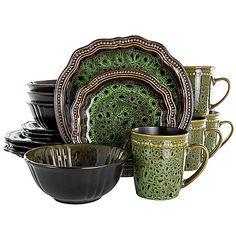 Casual Dinnerware Sets, Green Dinnerware, Dinnerware Sets For 12, Stoneware Dinnerware Sets, Tableware, Dinnerware Ideas, Dish Sets, Organic Shapes, Bold Colors