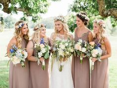 Whimsical Countryside Virginia Wedding - United With Love   Molly Lichten Photography   Bridesmaids in Neutral Tone Dresses with Flower Crowns   Wedding Flower Crown Inspiration