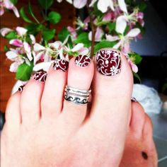 ##nails jamberry fashion design jewelry manicure pedicure nail art nail polish feet wedding sandals flip flops flower burgundy toe ring