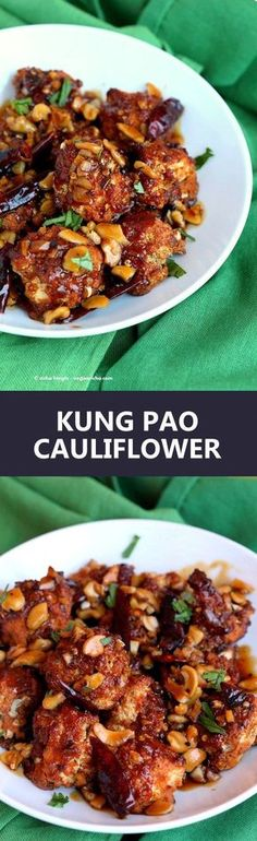 Crispy Kung Pao Cauliflower: cauliflower battered and baked and tossed in spicy kung pay sauce - appetizer for gameday. Vegetable Recipes, Vegetarian Recipes, Healthy Recipes, Free Recipes, Delicious Recipes, Kung Pao Cauliflower, Cauliflower Recipes, Whole Food Recipes, Cooking Recipes