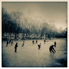 Pond Hockey Pickup Game on the Frozen C&O Canal Near Potomac, Maryland Photographic Print by Skip Brown - AllPosters.ca