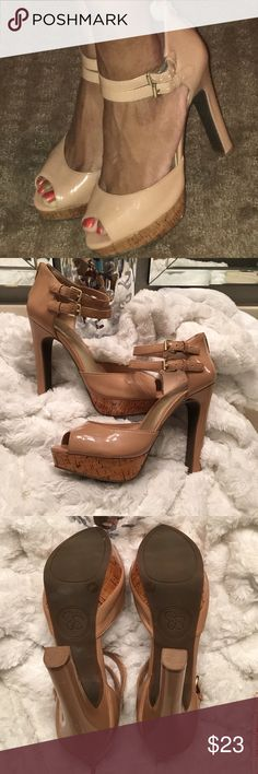 Jessica Simpson Heels! Gorgeous nude patent leather heels by Jessica Simpson! These heels are ultra sexy and super stylish. Some signs of wear as shown in last pic. Shouldn't be noticeable when worn. Heel height: 5 1/2 inches. Overall good condition.  Jessica Simpson Shoes Heels