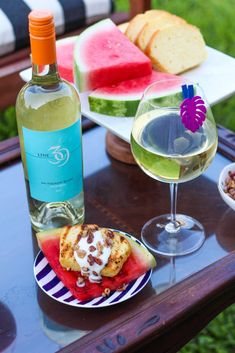 Recipe: Grilled Watermelon Pound Cake for a summertime grilled dessert & wine pairing station! I've teamed up with Line 39 Wine and Weber Grill to elevate backyard BBQ entertaining. Pair Line 39 Wine with this unique dessert that is grilled up on the Weber® Q®1200 portable gas grill. #AD Msg 4 21+.