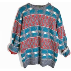 Vintage Winter Ikat Sweater in Gray Red Teal Boyfriend Sweater men's... (345 NOK) ❤ liked on Polyvore featuring men's fashion, men's clothing, men's sweaters, mens red sweater, mens sweaters, mens grey sweater, mens gray sweater and vintage mens sweaters