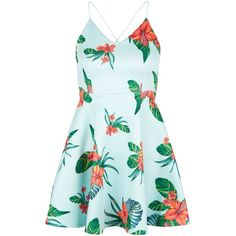 New Look Petite Green Tropical Print Skater Dress ($41) ❤ liked on Polyvore featuring dresses, green pattern, mini dress, green summer dress, petite dresses, party dresses and green skater dress