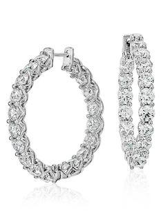 Blue Nile Signature Diamond Hoop Earrings in Platinum #BePlatinum