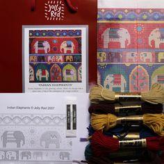 Needlepoint design of stylised elephants, in stunning colours. Jewel Colors, Colours, Elephant Tapestry, Tapestry Kits, Large Cushions, Needlepoint Designs, Indian Elephant, Elephants, Exotic