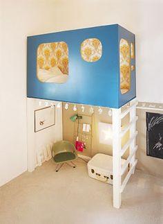 kids loft bed cutest kids room ever Awesome Bedrooms, Cool Rooms, Small Rooms, Small Spaces, Awesome Beds, Open Spaces, Kid Spaces, Cool Loft Beds, Casa Kids