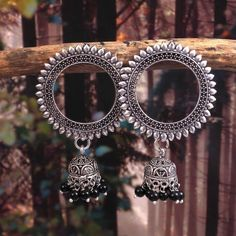 Oxidized Silver Plated Handmade Circle Studs Jhumka Jhumki Light weight Party Wear Earrings for wome Indian Jewelry Earrings, Jewelry Design Earrings, Silver Jewellery Indian, Silver Jewelry, Silver Earrings, Jewlery, Jewelry Accessories, Antique Jewellery Designs, Fancy Jewellery