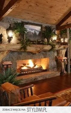 LOVE a split-log mantel on a stone fireplace in a rustic cabin . looks nice wi. LOVE a split-log mantel on a stone fireplace in a rustic cabin … looks nice with carriage lights