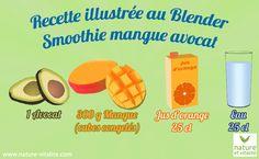Smoothie Mangue Avocat : la recette. Cette recette délicieuse pourra être facilement réalisée avec un Blender. Il vous faudra : 1 avocat, 300 g de mangue, 25 cl de jus d'orange et 25 cl d'eau.  Pour un résultat optimal, découpez votre manque en petits cubes à l'avance et mettez au congélateur pendant 1 bonne heure.