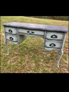 #Chalkpaint does not have to be expensive. Paintiques used #DixieBelle chalk mineral paint to create this #paintedfurniture masterpiece. Done is Vintage Duck Egg