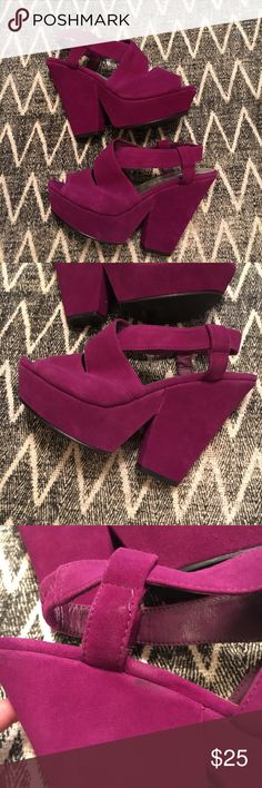 Wild Pair chunky wedged heels Really cute wedged heels, size 6.5. Small wear as shown in pictures on the inner part of left heel. Small sticky substance & snag. Glitter on the bottoms✨ Wild Pair Shoes Wedges