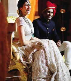 Bridal lehenga in white by Sabyasachi