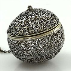 rare George W. Shiebler and Co. antique sterling handmade filigree tea ball (tea infuser), c. 1900?, silver, USA
