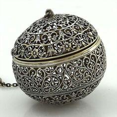 rare George W. Shiebler and Co. antique sterling handmade filigree tea ball (tea infuser), c. 1900?, silver, USA