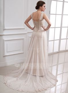 A-Line/Princess V-neck Court Train Satin Tulle Wedding Dress With Lace Beading (002000313) - JJsHouse