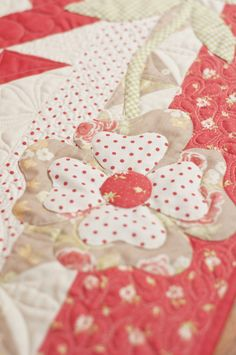 Pretty applique!  I love dots, gingham or stripes and florals together!