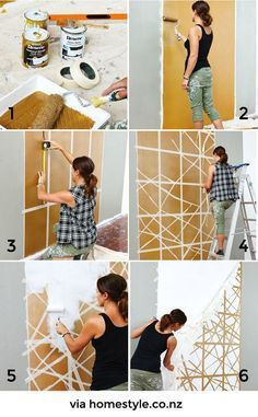A wrong headboard painted on the wall · A painted headboard - Vintage & Chic.club - A wrong headboard painted on the wall · A painted headboard – Vintage & Chic. Home Wall Decor, Diy Home Decor, Bedroom Decor, Bedroom Wall, Diy Wanddekorationen, Painted Headboard, Diy Wood Wall, Diy Casa, Diy Headboards