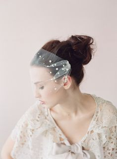 Voile de mariée bustier perles mini voile de tulle par myrakim