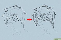 Draw Hair - How to Draw Anime Hair. This tutorial will show you how to draw male and female anime hair. Anime hair is what makes anime heroes unique and beautiful – as with real humans, it's the crowning beauty. Draw an outline of the h. Guy Drawing, Manga Drawing, Drawing People, Drawing Tips, Drawing Sketches, Art Drawings, Boy Hair Drawing, Gesture Drawing, Drawing Faces