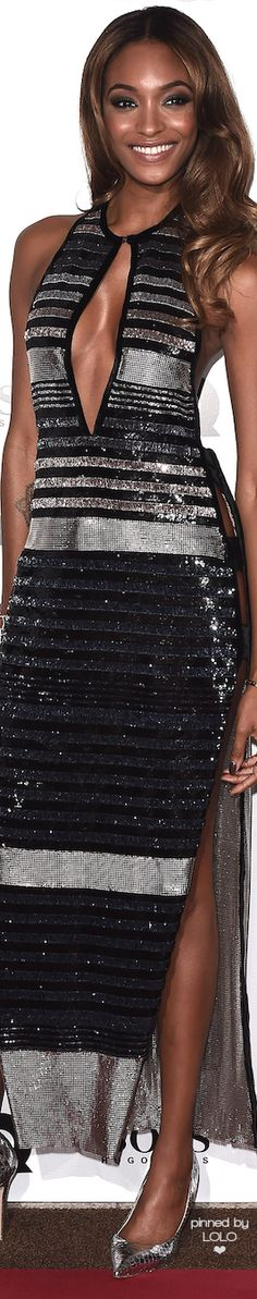 Jourdan Dunn wore a backless silver dress by Sonia Rykiel at the GQ Men of the Year Awards