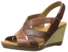 Clarks Women's Helio Coral Wedge Sandal ** Additional details at the pin image, click it : Strappy sandals Slingback Shoes, Strappy Sandals, Wedge Sandals, Coral Wedges, Up Styles, Shoes Online, Clarks, Brown
