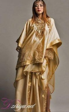Algerian Fashion: Gold Chaoui dress Style Oriental, Oriental Dress, Oriental Fashion, Traditional Fashion, Traditional Dresses, Orientation Outfit, Country Look, Dress Outfits, Fashion Dresses