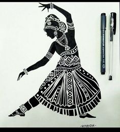 Indian classical dance is sustained by a profound philosophy. Form seeks to merge with the formless motions seek to become a part of the motionless and the dancing individual seeks to become one with the eternal dance of the cosmos. Tattoo Design Drawings, Art Drawings Sketches Simple, Pencil Art Drawings, Tattoo Designs, Dance Paintings, Indian Art Paintings, Zantangle Art, Pen Art, Dancing Drawings
