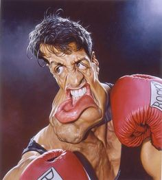 Sylvester Stallone as Rocky Cartoon Caricature Cartoon Faces, Funny Faces, Cartoon Art, Caricature Artist, Caricature Drawing, Caricature Photo, Funny Caricatures, Celebrity Caricatures, Sebastian Kruger
