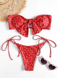 7813c257002c5 Shop for Bandeau Heart Bowknot Bikini Set RED: Bikinis L at ZAFUL. Only  $13.99