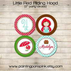 "Printable 2"" Party Circles - Little Red Riding Hood Party Collection"