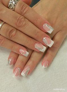 - műköröm minta, műköröm minták - Francia ezüsttel Das schönste Bild für diy clothes , das zu Ihrem Vergnügen passt Sie suchen et - French Tip Nail Designs, Pretty Nail Designs, Pretty Nail Art, French Nails, French Manicure Nails, Pink Nail Art, Cute Acrylic Nails, Manicure Nail Designs, Nagellack Design