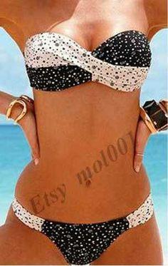 faaf67d41d81b euro incl shipping Hot selll New Black with white dot Fashion Sexy Women  Padded Swimwear   Swimsuit Bikini S M L