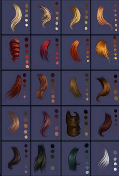 Jumbo Hair Palettes Chart by TheSpaceGypsy.dev… on deviantART Jumbo Hair Palettes Chart by TheSpaceGypsy.dev… on deviantART Digital Art Tutorial, Digital Drawing, Drawings, Digital Painting Tutorials, How To Draw Hair, Drawing Tips, Digital Painting, Art Tutorials, Character Design References