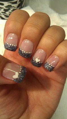 Shidale nails, charcoal gel! Cute hearts.