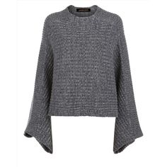 Jaeger Jaeger Wool Cashmere Cape Sweater ($230) ❤ liked on Polyvore featuring tops, sweaters, cropped sweater, ribbed crop top, wool sweaters, ribbed top and cashmere sweater