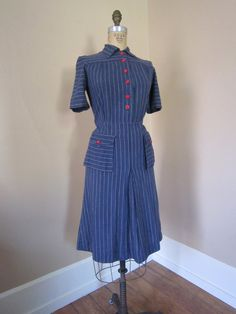 SUPER SALE 1930s Pinstriped Chambray Day Dress Art by 1937DryGoods