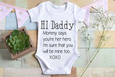 Hello Baby Dad Onesie Hello Dad Onesie Daddy onesie Daddy Announcement of Husband Pregnancy Reveal to Dad Dad Onesie Husband Pregnancy Reveal, Pregnancy Announcement To Husband, Pregnancy Tips, Ectopic Pregnancy, Baby Outfits, Baby Papa, Babyshower, Little Mac, Baby Arrival